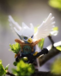 A Lego Chima bird sits in a tree beginning to leaf out with his quarter in his hand ready to burst into song.