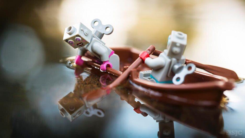 Robots in fountain, alternate version wm