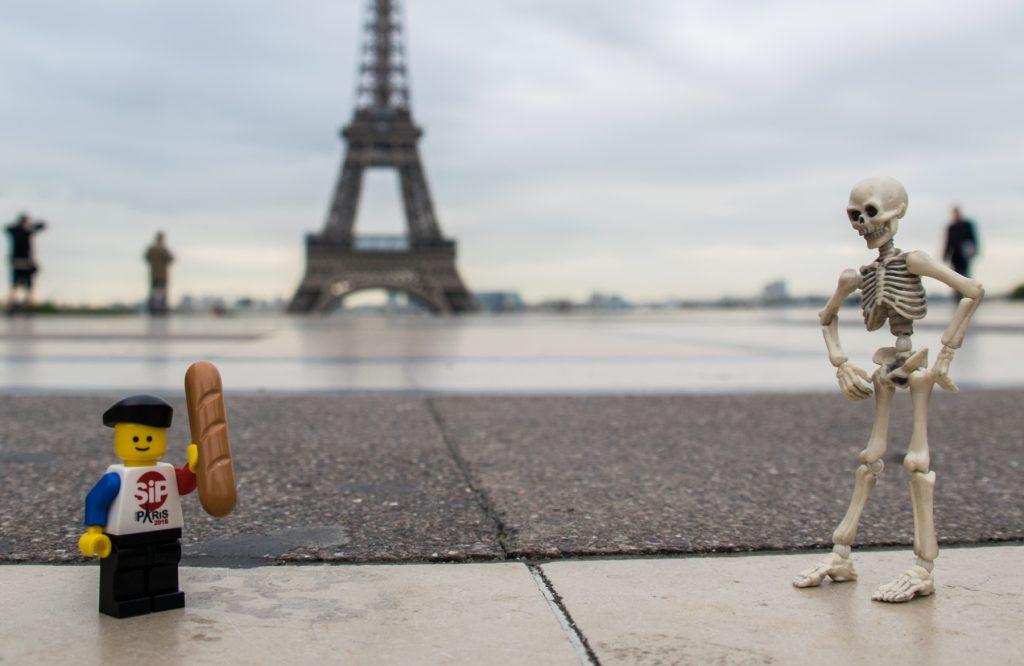 A skeleton meeting a lego boy in Paris